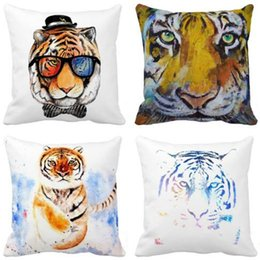 Wholesale Car Print Fabric - Fashion Home Decor Watercolor Cute Tiger Face Glasses Print Car Sofa Bed Office Polyester Throw Pillow Case 18x18Inch