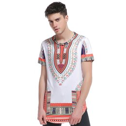 Wholesale Fashion Nation - African Nation Folk Style Men Fashion 3D National Style Printing Round Collar Hip-hop High Street Short Sleeved T-Shirts Dashiki