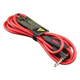 Micrófono de 3,5 mm online-Cables rojos de repuesto de 3.5 mm para teléfonos de estudio con control de conversación y extensión de MIC de audio AUX macho a macho
