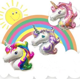 Wholesale Balloon Animals Supplies - 2000pcs 2017 Mini Rainbow Unicorn Balloons Party Supplies Foil Balloons Kids Cartoon Animal Horse Party Wedding Christmas Decoration