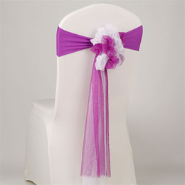 Wholesale Hotel Housing - Hotel Wedding Ceremony Chair Back Flower Sheer Organza Sashes Glass Yarn Party Banquet Chairs Cover Bowknot Decorate 5hm Y