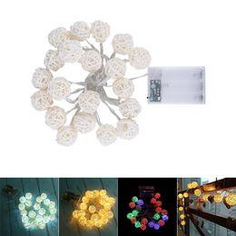 patio di rattan Sconti LED String String Lights 2M 20LEDs White Handmade Rattan Balls String Lights Fairy Party Wedding Patio decorazioni natalizie