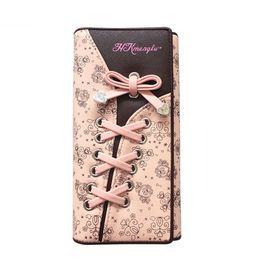 Длинный кошелек онлайн-Горячие продажи мода элегантный леди женщин бантом складки кожаный ботинок кружева кошелек сцепления длинный кошелек портмоне сумка