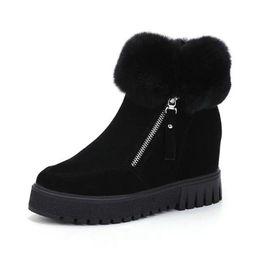 Canada 2018 nouvelles femmes chaudes bottes de neige d'hiver tête ronde bas talon augmentation côté fermeture à glissière cheville bottes courtes femmes dames chaudes bottes occasionnelles Offre