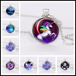 Wholesale collections link - Unicorn Charm Glass Necklace Jewelry, Rainbow Pony Time Gemstone Silver Necklace Unicorn Necklace Collection Pendant Jewelry Accessories
