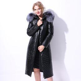 Wholesale Leather Sleeves Woman Parka - European Women PVC Leather Down Parkas Coats Real Fox Fur Hoody Winter Warm X-Long Overcoats Lady Outerwear 4XL 5XL 6XL VF4038