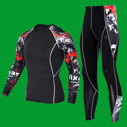 Wholesale spandex skin suit - Mens Sports Running Set Compression Skin-Tight Fitness Rashguard Training Clothes Gym Yoga Suits Integrated training clothes