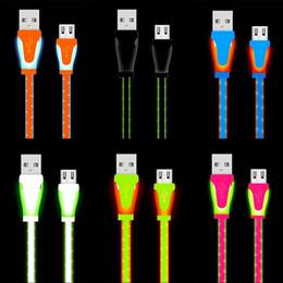 Bonbons plats en Ligne-Visible LED lumière Micro câble USB 1 m 3ft nouilles plates câbles de couleur bonbon USB pour samsung s6 s7 note de bord 2 4 htc android téléphone
