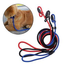 Wholesale Black Dog Training - Pet Dog Nylon Adjustable Collar Training Loop Slip Leash Rope Lead Small Size Red Blue Black Color