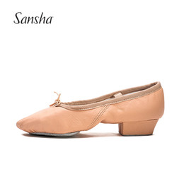 Wholesale ballet for sale - Sansha Hot Sale Genuine Leather Ballet Shoes With Heel For Women Young Ladies Practice Jazz Dance Shoes TE2LPI
