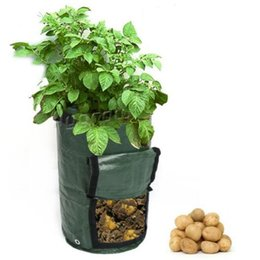 Wholesale Floor Planter - 45*35cm Planting Bags With Window Leakage Proof Garden Potato Grow Bag Felt Cloth Gardens Pots Clamshell Planters CCA9248 70pcs