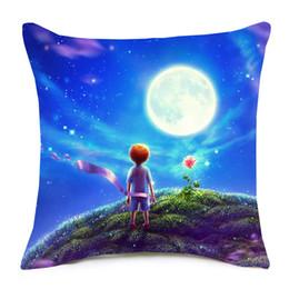 Silla azul cielo online-The Little Prince Rose Flower Fox Fundas de cojines Blue Sky Star Cojín de dibujos animados Funda de almohada de lino decorativo para sofá Silla