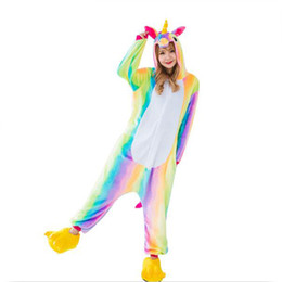 Wholesale Onesie Pyjamas - Children Colorful Rainbow Unicorn Pajamas Cute Winter Animal Kiguruma Flannel Onesie Pyjamas Costume Big Girls Kids Sleepwear