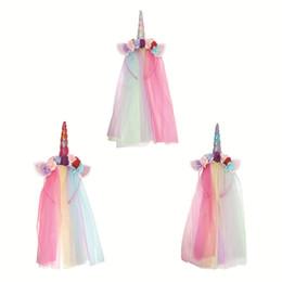 Argentina Rainbow Unicorn Diadema con Tulle Mane con cuerno de arco iris Pastel Cat Ears flores Flores Hair Hoop Party Costume Supplies Suministro