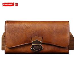1553d3df3 Cartera hecha a mano para mujer, primera capa de cuero, cartera larga para mujer  cremallera retro de cuero genuino Bolsos de embrague tarjetas monederos