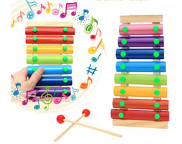Wholesale Music Piano Toys - Baby's Wooden Musical Toys Trailer 8-Note Xylophone Children Hand Knocking Piano Music Instrument Early childhood educational toys