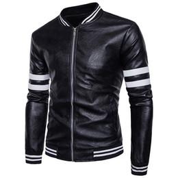Herren PU-Lederjacken Winter Fashion Designer Motorradjacken Männer Leder Streifen Jacke für Herren Herren Mantel Schwarz Braun Cool Oberbekleidung von Fabrikanten