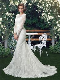 2019 vestido de noiva de sereia de lantejoulas de strass Vestido V Branco Do Vintage Da Sereia Rendas Vestidos de Casamento Trompete Scoop Pescoço Mangas Compridas Cinto de Trem Tribunal Botão Voltar Vestidos De Noiva