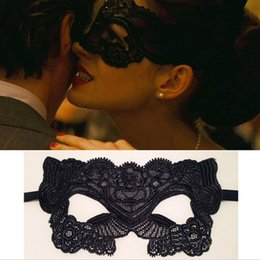 Wholesale Lingerie Mask - Sexy Black Lace Hollow Mask Goggles Nightclub Fashion Queen Female Sex Lingerie Cutout Eye Masks For Masquerade Party Mask