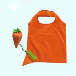 Модные продуктовые сумки онлайн-Vegetable Carrot Fashion Printing Flowers Foldable Reusable Shopping Bags Eco Tote Handbags Large-capacity Storage grocery bags
