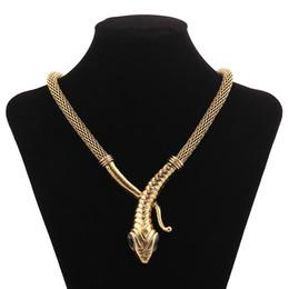2019 silber mesh schmuck halskette Frauen vintage legierung bib schlange choker halskette gold silber ägyptischen cleopatra schlange schlange mesh kette maxi halskette schmuck