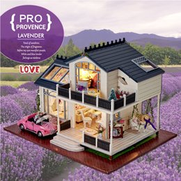 Wholesale Free House Furniture - Gifts New Brand DIY Doll Houses Wooden Doll House Unisex dollhouse Kids Toy Furniture Miniature crafts free shipping A032