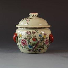 fiori della pentola della porcellana Sconti Old CHINA QING TONGZHI Colore flower bird Porcellana vita drum Pot vaso