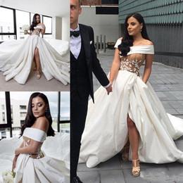Wholesale training corset cheap - Sexy Satin Side Split Wedding Dresses Off Shoulder Lace Applique Corset Cheap Bridal Gowns Long Train Fashion Arabia Wedding Dress