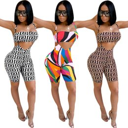 aa2faf0733 Women Sexy Club Overalls Chest Wrap 2 Piece Set Print Bra Bib Pants Outfits  evening skinny Short Suspender Trousers Bra plaid Sport Suit