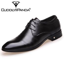 Wholesale Men Black Rubber Suits - CUDDLYIIPANDA 2018 New Design Genuine Leather Lace Up Modern Men Shoes Party Wedding Suit Formal Footwear Male Dress Shoes