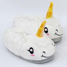 Zapatillas de oveja online-Unicornio de felpa Zapatillas antideslizantes Mantener caliente Lindo Ovejas Zapatilla de dibujos animados Zapatos de piso de interior Regalo de Navidad 14yw C