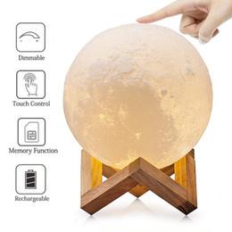 Baby Night Light 3D Printing Moon Lampada Touch Sensor Control Luminosità regolabile Dimmerabile Lampada da comodino a LED caldo giallo freddo bianco supplier yellow moon lamp da lampada di luna gialla fornitori
