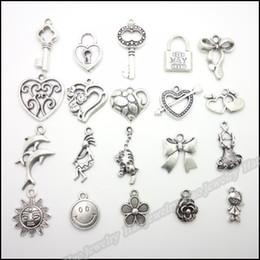 Mix 200pcs Vintage Charms Pendant argento tibetano in lega di zinco misura collana braccialetto europeo fai da te in metallo risultati dei monili da mini figurine animali fornitori