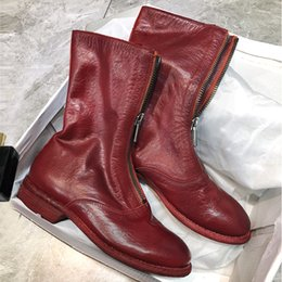 мягкие каблуки Скидка Fashion Soft Pleated Leather Casual Combat Boots Front Zipper Ankle Knight Boots Chunky Heels Motorcycle Biker Women Shoes