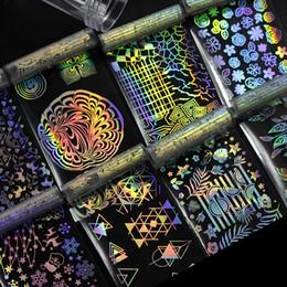 arte da flor do prego da flor Desconto Folha de Prego holográfica Flor Laser Dreamcatcher Padrões Misturados Galaxy Manicure Nail Art Adesivo de Transferência Set para o Natal Festa de Halloween