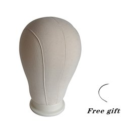 "Wholesale Block Needle - 21""-25""Beige Canvas Block Head For Hair Extension Lace Wigs&Display Styling Mannequin Manikin Head Wig Stand Free Get C Needle"