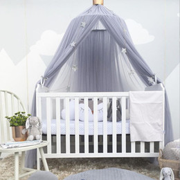 I bambini della tenda online-Baby Mosquito Net Bed Canopy Curtain Around Dome Mosquito Net Crib Netting Hanging Tent for Children Baby Room Decoration Photography Props