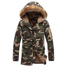 Мужская куртка бомбер мех онлайн-2018 Men Long Jacket Camouflage Warm Fur Hooded Bomber Jacket Mens Parka Fleece Coat Winter Male Casual Thicken Outwears Zipper