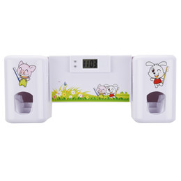 Wholesale Wall Mount Animal - Bathroom accessories Automatic Toothpaste Dispenser +Toothbrush Holder Set Wall Mount Rack Bath Oral-White Animals