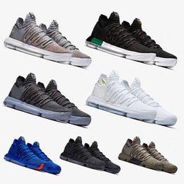 Wholesale Kd Zoom Basketball - With Box Zoom KD 10 Anniversary PE BHM Red Oreo triple black Men Basketball Shoes Elite Low Kevin Durant Athletic Sport Sneakers 40-46