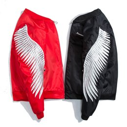 Wholesale Jacket Winged Sleeves - 2018 New Spring Red Cotton Padded High Street Wing Embroidery Jacket Men Hip Hop Print Zipper Military Army Pilot Bomber Jacket