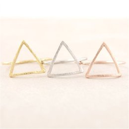 Wholesale Party Graphics - Fashion The latest elements triangle hollow out graphics rings Gold-color rings for women mixed color wholesale