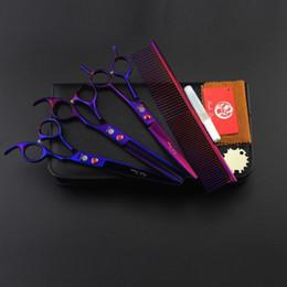 Tesoura de 6,5 polegadas on-line-com caixa de embalagem de varejo roxo dragão tesoura conjunto com cor roxa 7.0 polegada de corte e 6.5 polegada de desbaste e pente