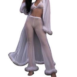 Feitong mulheres calças de cintura elástica Praia Malha Sheer Bikini Cover Up Swimwear Transparente Calça Comprida sexy branco Calças Soltas de