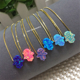 Wholesale Fire Opal Necklace Sterling - whole saleHot Selling 11x13mm OP03 Fire Opal Hamsa Pendant Necklace O Chain 925 Sterling Silver Synthetic Opal Hamsa Hand Necklace