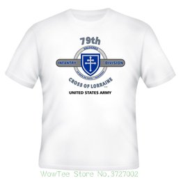 "cross brand t shirt Coupons - 79th Infantry Division "" Cross Of Lorraine "" White Shirt ( Design On Front ) T Shirts Casual Brand Clothing Cotton"