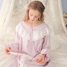 100% Cotton Princess Nightdress Royal Nightgowns Women s Long Pijamas  Purple and Pink Sleepwear Girl Home Cloth 3210fc96d