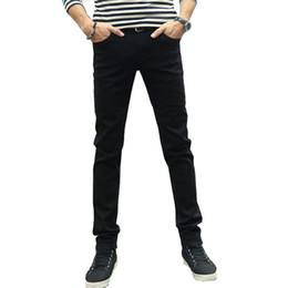 Muchachos pantalones negros flacos online-Pantalones vaqueros para hombre Verano 2018 Marca Stretch Casual Pierna delgada Chicos flacos Hombre Yong Hombre Pantalones vaqueros Hombre Jeans negro Hombre caliente