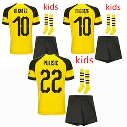 Crianças borussia on-line-18 19 Borussia Dortmund crianças camisa de futebol 2018 2019 M.GOTZE KAGAWA PULISIC REUS BATSHUAYI camisas Borussia futebol crianças