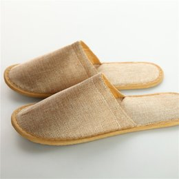 linen slippers Promo Codes - Cotton Linen Disposable Slippers Universal Non Slip Massage Babouche Brown Bare Toes Baboosh High End 1 4ty B